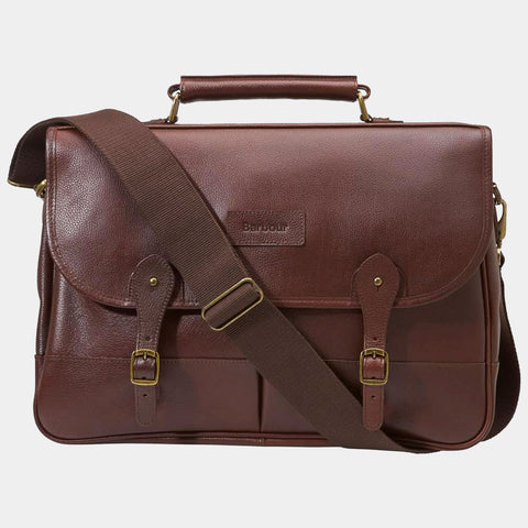 BARBOUR BRIEFCASE - DARK BROWN LEATHER UBA0011BR71 - Front View