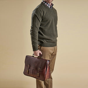 BARBOUR BRIEFCASE - DARK BROWN LEATHER UBA0011BR71 - Modelled