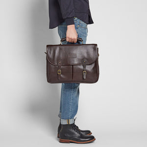 BARBOUR LEATHER BRIEFCASE - CHOCOLATE BROWN - UBA0011BR91 - Modelled Side