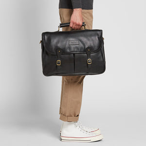 BARBOUR LEATHER BRIEFCASE - BLACK - UBA0011BK111 - Modelled Side