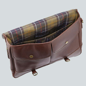 BARBOUR BRIEFCASE - DARK BROWN LEATHER UBA0011BR71 - Opened View