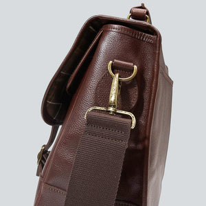 BARBOUR BRIEFCASE - DARK BROWN LEATHER UBA0011BR71 - Strap & Side Detail