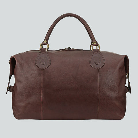 BARBOUR TRAVEL BAG - EXPLORER WEEKEND HOLDALL - DARK BROWN LEATHER - UBA0008BR71 - Side View