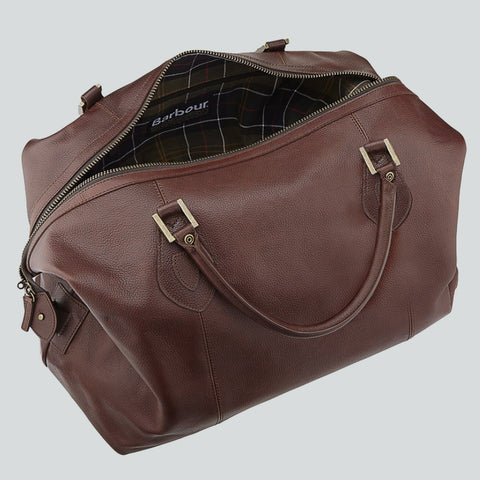 BARBOUR TRAVEL BAG - EXPLORER WEEKEND HOLDALL - DARK BROWN LEATHER - UBA0008BR71 - Zip Open View