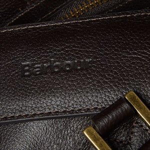 BARBOUR TRAVEL EXPLORER BAG - CHOCOLATE BROWN LEATHER - UBA0008BR91 - Embossed Logo Detail