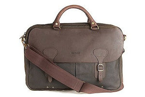 Barbour Briefcase in Wax with leather trim UBA0004OL711