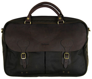 Barbour Briefcase in Olive Wax with leather trimmings UBA0004OL711