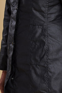 BARBOUR BELSAY LADIES WAX JACKET - BLACK - LWX0458BK91 - Pocket Detail