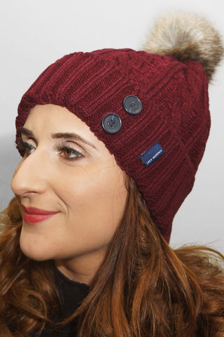 Jack Murphy Blessington Bobble Hat - Winter Burgundy - 026702 - Modelled Front