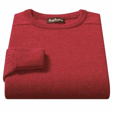 Barbour Nelson essential crew mens jumper in RICH RED