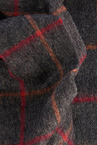 Barbour Tattersall Lambswool Scarf - Charcoal/Red - USC0009CH11 - Fabric Detail