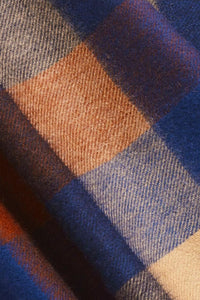 Barbour Large Tattersall Lambswool Scarf - Navy/Camel - USC0005NY11 - Check Detail