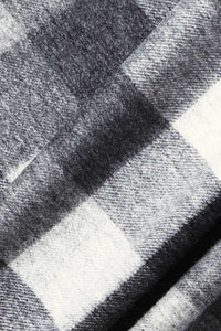 Barbour Large Tattersall Lambswool Scarf - Charcoal Grey - USC0005CH11 - Check Detail