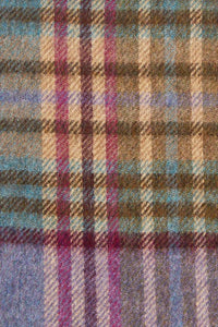 Barbour Scarf Dunnock Lambswool - Lilac Multi Plaid - LSC0218PU51 - Check Detail