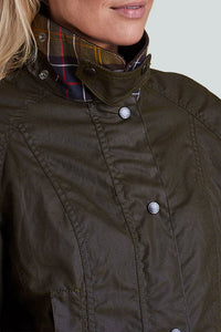 BARBOUR CLASSIC BEADNELL - LADIES WAX JACKET - OLIVE GREEN - LWX0668OL71 - Collar Detail