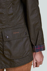 BARBOUR CLASSIC BEADNELL - LADIES WAX JACKET - OLIVE GREEN - LWX0668OL71 - Cuff Detail