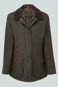 BARBOUR CLASSIC BEADNELL - LADIES WAX JACKET - OLIVE GREEN - LWX0668OL71 - Flat