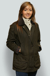 BARBOUR CLASSIC BEADNELL - LADIES WAX JACKET - OLIVE GREEN - LWX0668OL71 - Front Closed