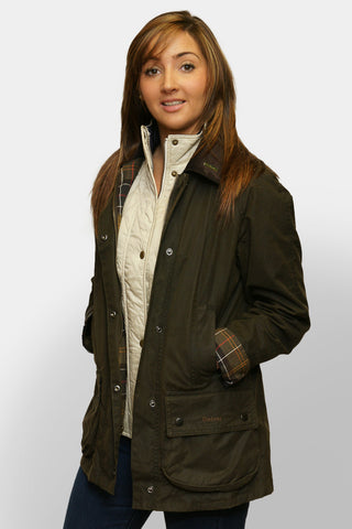 BARBOUR CLASSIC BEADNELL - LADIES WAX JACKET - OLIVE GREEN - LWX0668OL71 - Front View