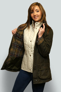 BARBOUR CLASSIC BEADNELL - LADIES WAX JACKET - OLIVE GREEN - LWX0668OL71 - Front Opened
