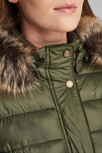 Barbour Ladies Redpoll Quilt Jacket - Olive - LQU0975OL51 - Collar Detail