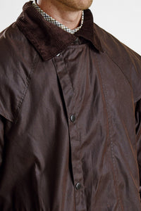 Barbour Stockman Long Wax Coat - Rustic Brown - MWX0006BR71 - Collar Down Detail