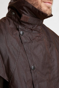 Barbour Stockman Long Wax Coat - Rustic Brown - MWX0006BR71 - Collar Up Detail