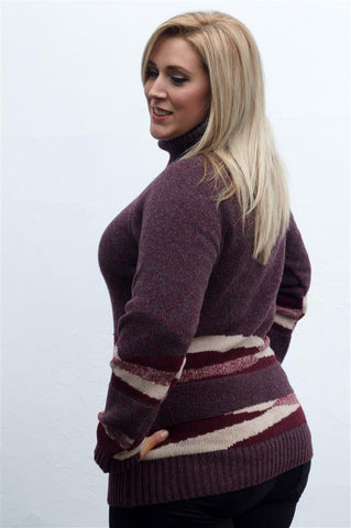 Barbour Grenlaw Ladies Lambswool Sweater in Rosewood pattern