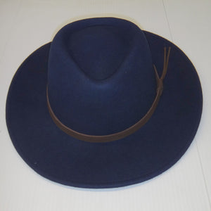 Hoggs Hat-Perth-Crushable Bushman-Waterproof-Navy-HOFPCFH leather