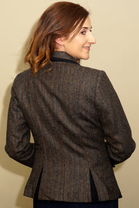 Jack Murphy-Ladies Tweed Jacket-Margot- Herringbone-Teal-JAC810 darts at the back