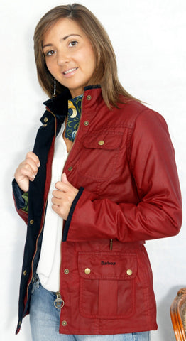 Barbour Morris Utility Ladies Red Wax Jacket With Golden Lily Lining.left