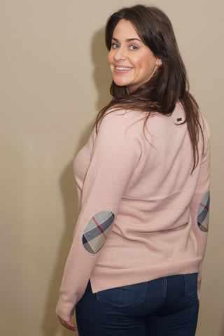 Barbour Sweater-Pendle-Crew Neck-Blush Pink-LKN0848PI53 patches