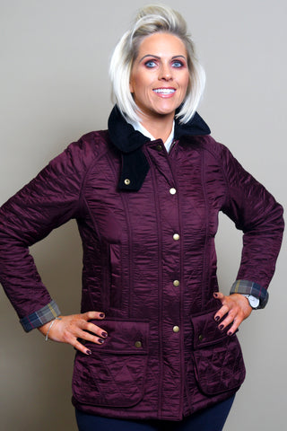 Barbour Beadnell Polarquilt Jacket- Aubergine /Purple and Black LQU0471PU94 front