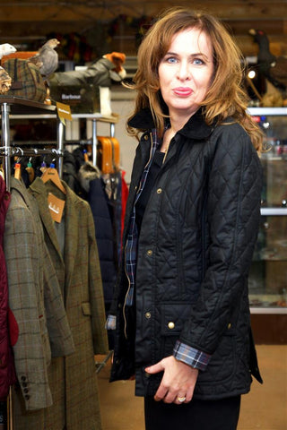 Barbour Beadnell Ladies Black Quilted Wax Jacket