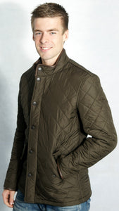 Barbour mens olive green Powell polarquilt jacket side