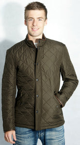 Barbour mens olive green Powell polarquilt jacket front