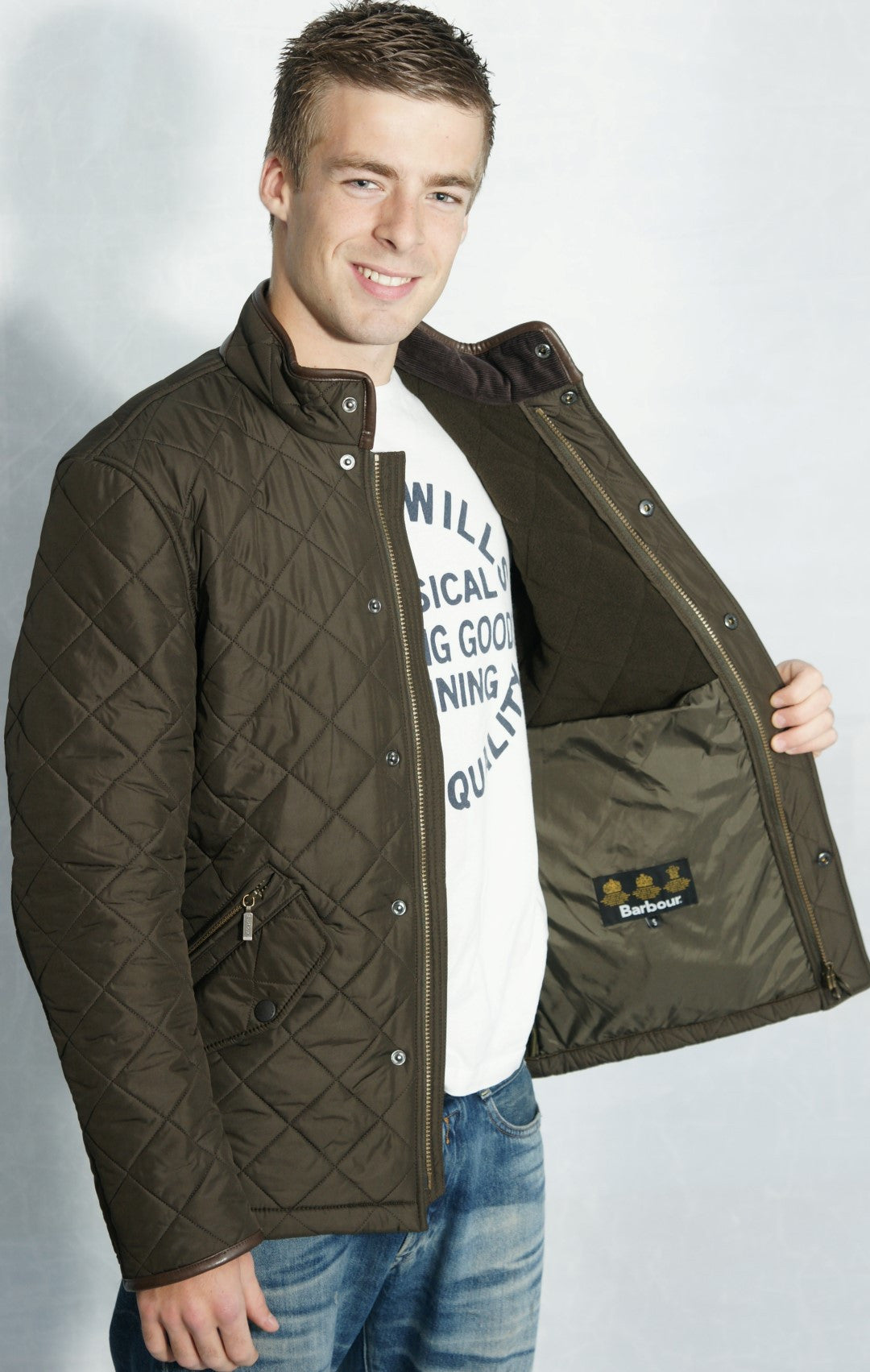Mens quilted jacket sale uk -  Barbour Mens Olive Green Powell Polarquilt Jacket Lining