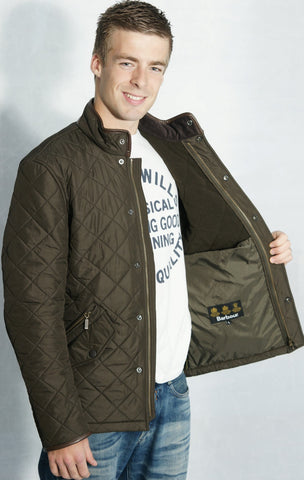 Barbour mens olive green Powell polarquilt jacket lining