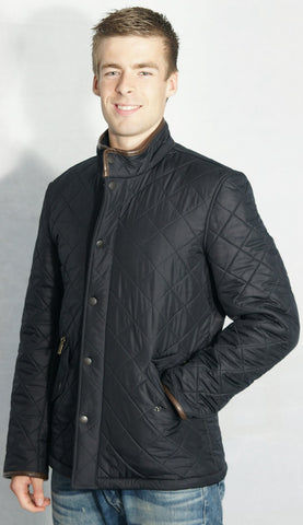 Barbour Powell mens navy polarquilt jacket side