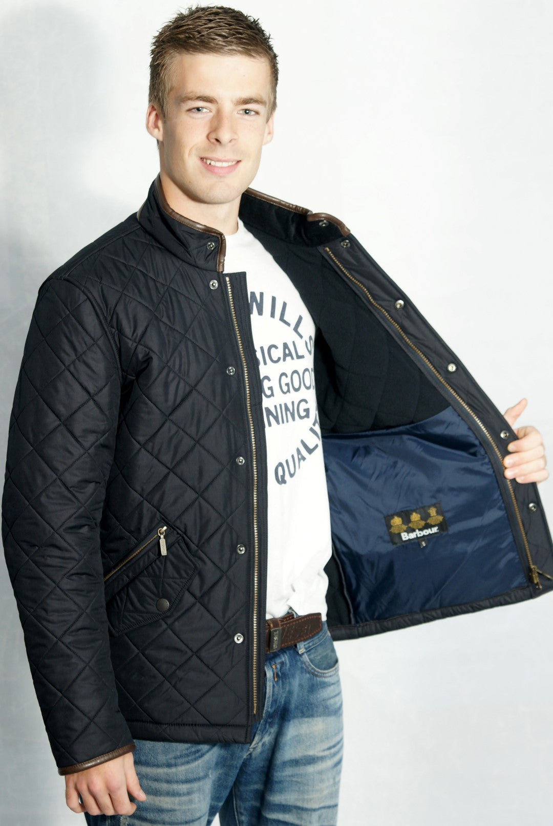 Mens gloves sale uk - Barbour Powell Mens Quilted Jacket In Navy Mqu0281ny71