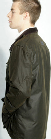 Barbour mens Trooper olive green wax jacket side