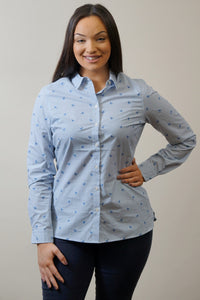 Barbour Shirt -Ladies Malvern-Navy-Horse Print-Pale Blue-LSH1176BL15 side