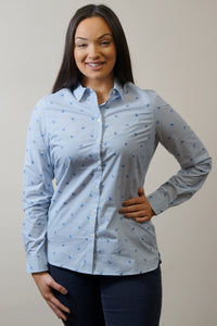 Barbour Shirt -Ladies Malvern-Navy-Horse Print-Pale Blue-LSH1176BL15 pony