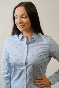 Barbour Shirt -Ladies Malvern-Navy-Horse Print-Pale Blue-LSH1176BL15 smile