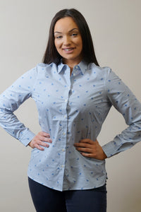 Barbour Shirt -Ladies Malvern-Navy-Horse Print-Pale Blue-LSH1176BL15