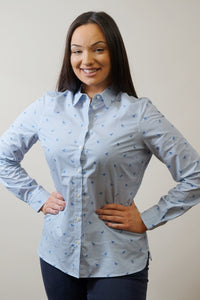 Barbour Shirt -Ladies Malvern-Navy-Horse Print-Pale Blue-LSH1176BL15 shape