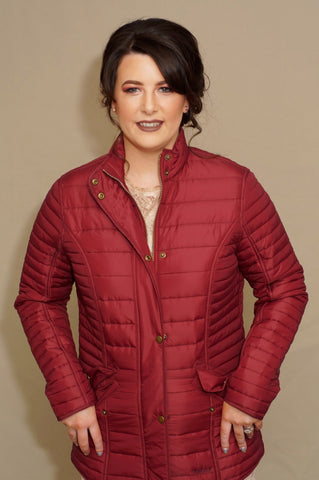 Barbour ladies Crossrail Quilted Jacket in Burgundy LQU0764RE71