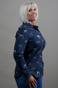 Barbour Shirt-Stirling- Ladies-Dog Print-Navy-LSH1235NY73 side