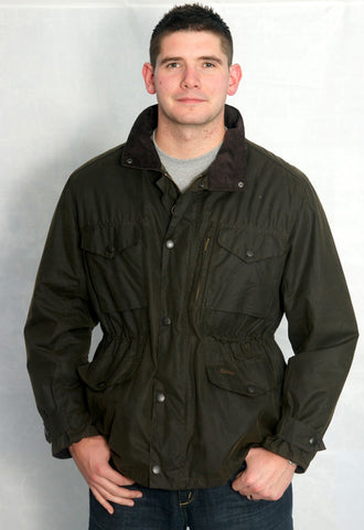 Barbour mens olive green Sapper wax jacket front view