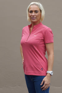 Barbour Sale Saddle ladies Polo shirt in Deep Pink LML0335PI76